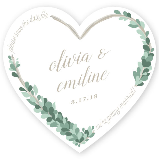 save the date cards - heart wreath by elena diaz