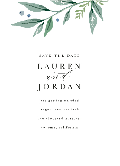 save the date cards - branch of greenery by Karidy Walker