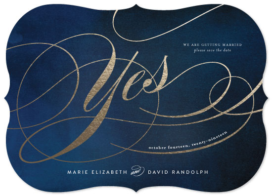 save the date cards - Calligraphic Yes by chica design
