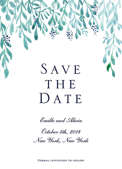 save the date cards - Flowing Leaves by Carlota Suaco