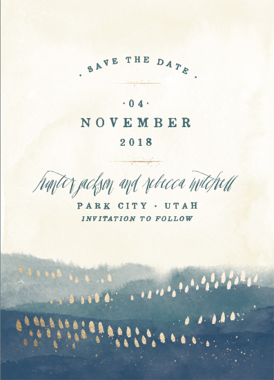 save the date cards - Moody Mountains by Robert and Stella