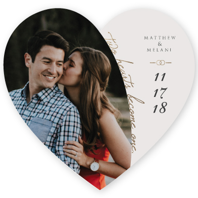 save the date cards - Two Hearts Become One by Amanda Ansel