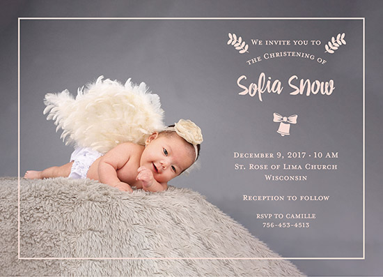 invitations - Rose Gold Ribbon Baptism Card by Carlota Suaco