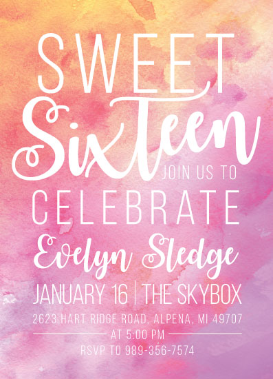 invitations - Watercolor Sweet Sixteen by Allison Massingill