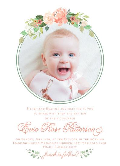 invitations - Coral Floral Baptism by Allison Massingill