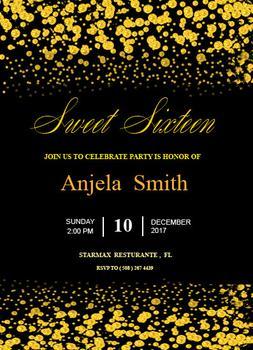 Invitation - golden sparkle