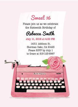Sweet Sixteen - Vintage Invite