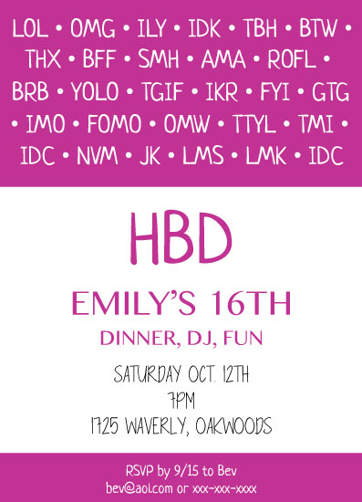 invitations - HBD Hot Pink by Tracy Ryan