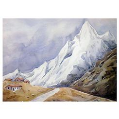 watercolor hand painted Himalaya painting on paper