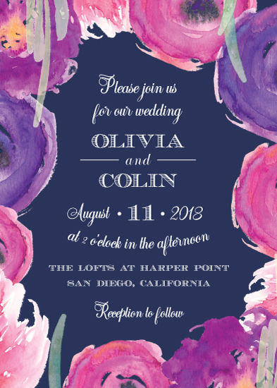 wedding invitations - Modern Navy Floral by Katherine Stout