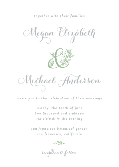 wedding invitations - Botanical Ampersand by AS Designs