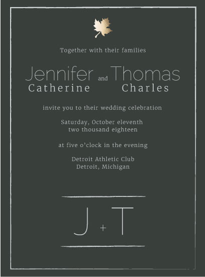 wedding invitations - Fall Foil by Jane S
