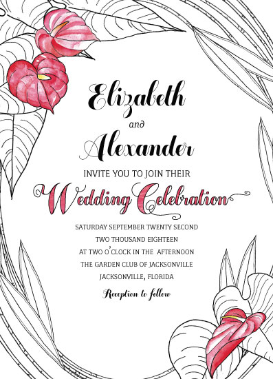 wedding invitations - Heart Flowers by Debbie Quist