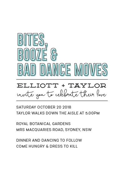Wedding Invitations Bites Booze Bad Dance Moves At