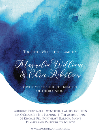 wedding invitations - Watercolor Drop Wedding Invitation by Kelsey Beaudoin