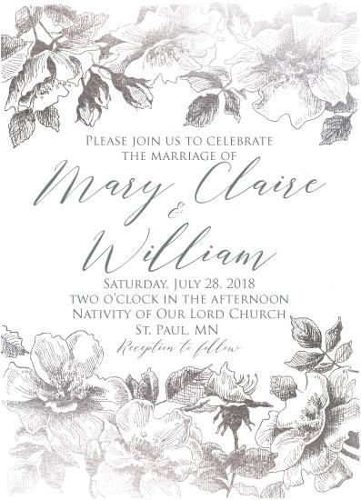 wedding invitations - Silver Wild Rose by Karen Ritz