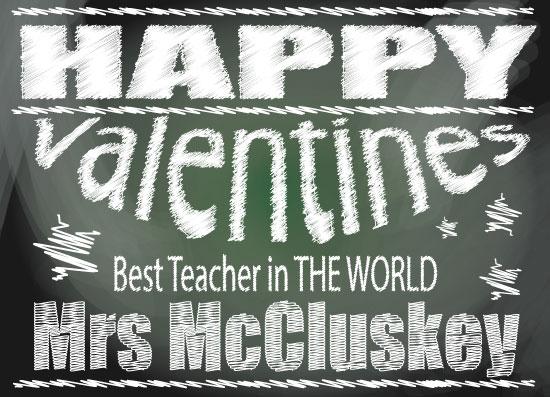 valentine's day - Teachers chalkboard Valantines by Bethan Osman