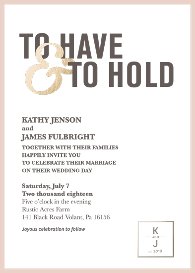 wedding invitations - To Have & To Hold by Krisna Poznik