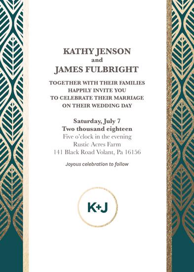 wedding invitations - Geometric Leaves by Krisna Poznik