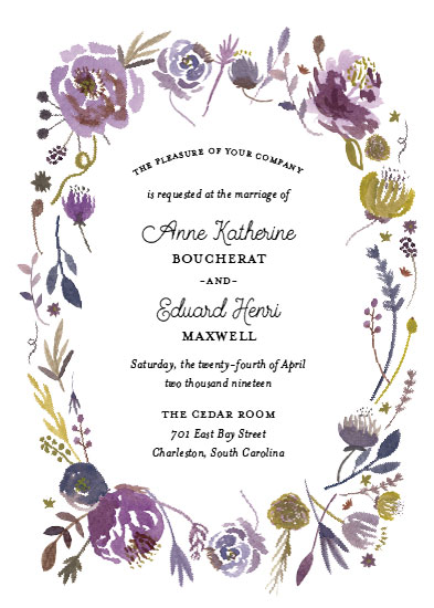 wedding invitations - Violet Oval Frame by Erika Firm