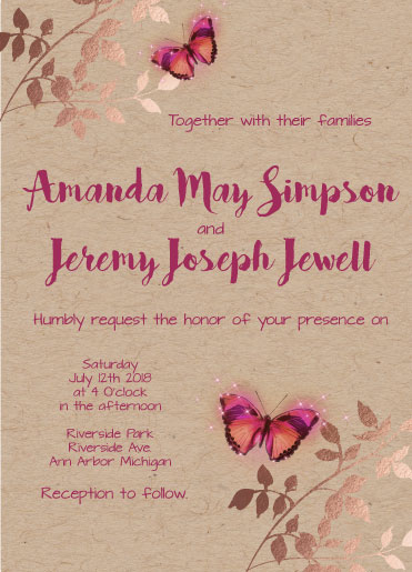 wedding invitations - Love is aflutter by Theresa Dryer