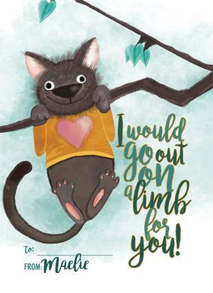 valentine's day - cat on a limb by Jenica
