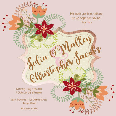 wedding invitations - Folksy Floral by Theresa Dryer