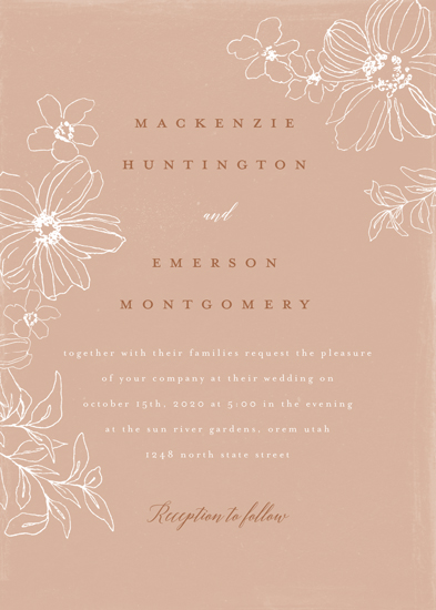 wedding invitations - Summer Line Florals by Wildfield Paper Co.