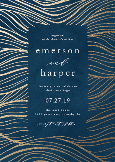 wedding invitations - Gilded Waves by Kelly Schmidt