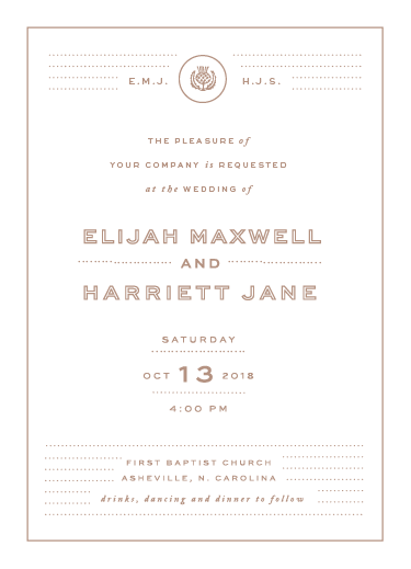 wedding invitations - Matte Gold Invite by Fox and Hound