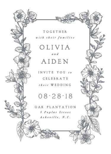 wedding invitations - Gray Florals by Fox and Hound