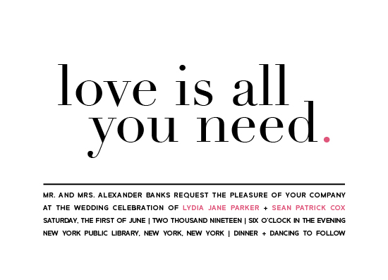 wedding invitations - Love is all you need by kelly ashworth