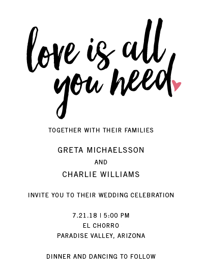 wedding invitations - Love Is All You Need Script by kelly ashworth