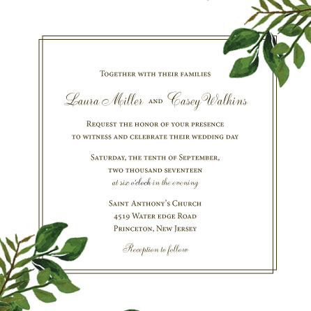 wedding invitations - Greenery Squared by Marlie Renee
