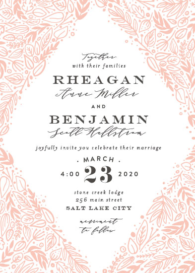 wedding invitations - Foliage Frame by Amy Payne