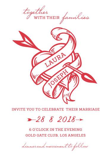 wedding invitations - Heart tattoo by Deyas Paper co.