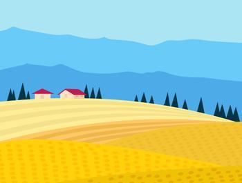 Mountain Harvest field Landscape