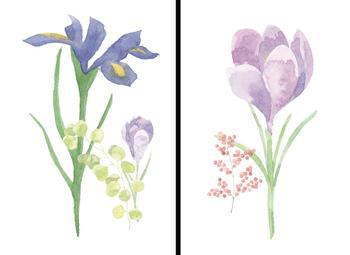 Watercolor Flower Diptych