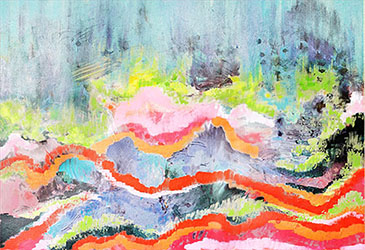 art prints - Sunset Mountainscape by Emily Cellini Henson