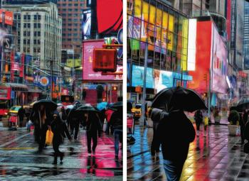 Times Square in the Rain Diptych