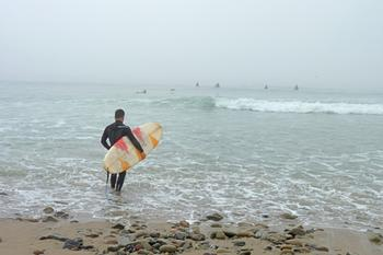Foggy Morning Surfer, Topanga Surf Break