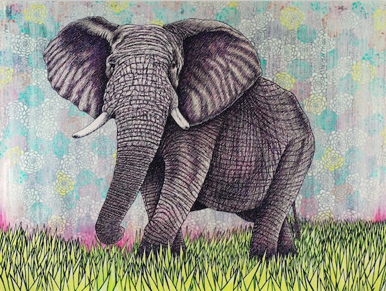 art prints - Elephant in morning mist by Mark Stokesbury