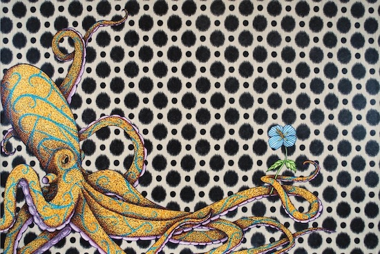 art prints - Octopus and Hibiscus by Mark Stokesbury