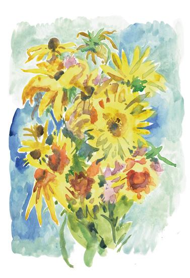 art prints - Yellow bouquet by Catilustre