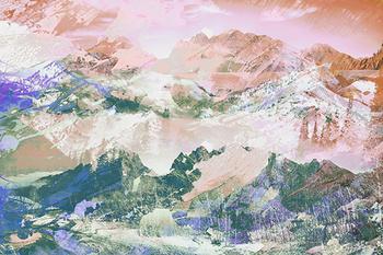 Stylised mountain landscape painting