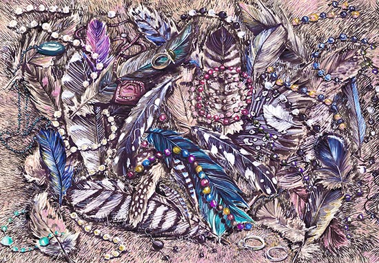 art prints - Watercolor still life feathers and jewelry by Teo designs