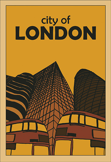 art prints - City of London retro poster by de Villiers Home Art