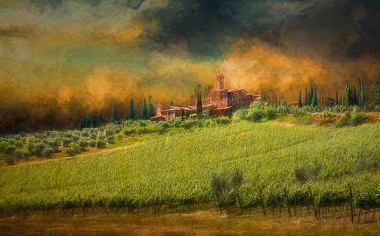 art prints - Clearing Storm Over Castello Banfi by Steve Burkett