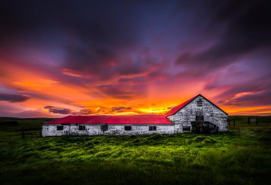 art prints - Barn in Icelandic Sunset by Steve Burkett