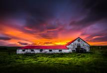 Barn in Icelandic Sunse... by Steve Burkett